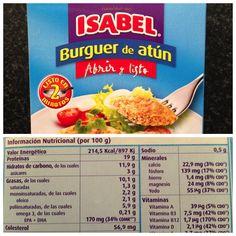 Hamburguesas de atun de la marca Isabel. Bajas calorias, ricas en proteinas, vitaminas, minerales y grasas saludables.