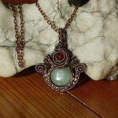 JADE Healing Pendant / Wire Wrapped pendant / wire wrapped jewelry / Healing Pendant/ Boho / Bohemian jewelry / Steampunk by GemOfHarmony on Etsy