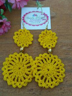 Crochet Earrings Pattern, Crochet Jewelry Patterns, Crochet Accessories, Diy Crafts For Girls, Diy Earrings, Crochet Flowers, Knit Crochet, Creations, Knitting