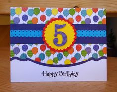 handmade card: Happy 5th Birthday ... bright and colorful ... luv the look of the border die separating the top patterned paper from the white carstock ...