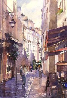 Artist Vladislav Yeliseyev watercolor paris france