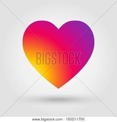 Heart, heart icon, Heart icon illustration. Heart Vector. Heart with shadow isolated on gray background. Instagram color. Rainbow color icon, heart sunset sign, heart love symbol. For graphic design. Heart detail. Instagram new Color 2016.