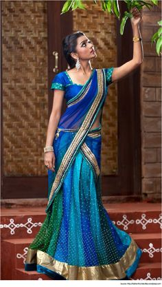 half saree designs is the traditional costume in the South Indian states. It is an easy transition between the childhood pavadai to the grown-up's saree. India Fashion, Asian Fashion, Indian Dresses, Indian Outfits, Indische Sarees, Half Saree Lehenga, Lehenga Style, Pink Saree, Mode Statements