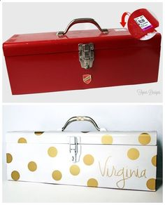 Old tool box turned into practical storage- nail polish box!! For Mattie