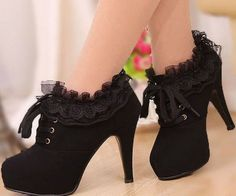 Lace round head high heels