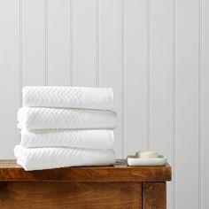 Christy Chevron Towels White
