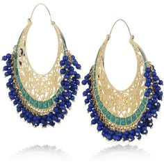 Isharya Moon Bali 18-karat gold-plated hoop earrings (2,815 CNY) ❤ liked on Polyvore featuring jewelry, earrings, accessories, bijoux, brincos, beaded hoop earrings, beading jewelry, filigree jewelry, beaded jewelry and 18 karat gold earrings