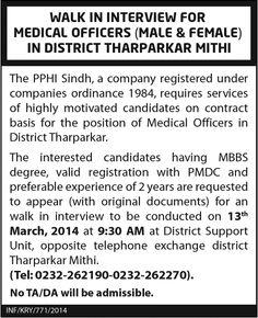 Medical Officer Jobs in Tharoarkar Mithi