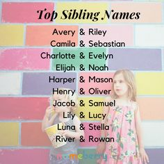 Popular sibling names for babies —click through for more!  #babynames #siblingnames #popularnames #sisternames #brothernames #unisexnames Cute Baby Names, Unique Baby Names, Kid Names, Names For Babies, Popular Last Names, Animals Name List, Rustic Boy Names, Name Inspiration, Baby Name List