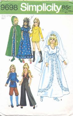 """This is just one of the FREE patterns Beth Colvin has generously scanned into PDF format and placed on her website. These are for the 18"""" IDEAL Crissy family dolls"""