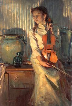 Painting by Daniel F. Gerhartz (1965-) Her Mother's Violin  Love the lighting and how the girl's personality shines through.