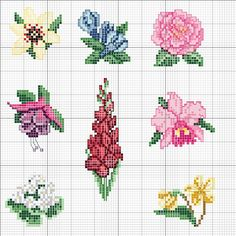 Colorful little cross stitch flowers. Small Cross Stitch, Cross Stitch Cards, Cross Stitch Borders, Cross Stitch Flowers, Cross Stitch Designs, Cross Stitching, Cross Stitch Embroidery, Beading Patterns, Embroidery Patterns