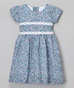 White & Blue Floral Dress - Infant & Toddler #zulily #zulilyfinds