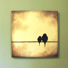 Original Painting  Signature Birds on a by ContemporaryEarthArt