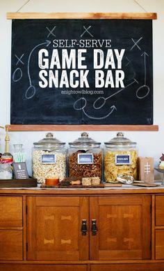 Self-Serve Game Day Snack Bar via A Night Owl >> #WorldMarket Game Day Essentials