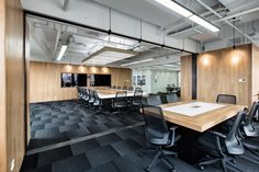 UStudies Architects has designed the new offices of Linmon Pictures located in Shanghai, China. Linmon Pictures is a rising star in China's vibrant media Corporate Office Design, Modern Office Design, Workplace Design, Hall Room, Ancient Greek Architecture, Gothic Architecture, Rectangle Table, Co Working, Architect Design
