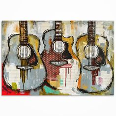 Guitar painting Gift for a musician Music Art by MagdaMagier