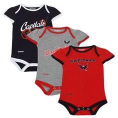 e2cb325b930 NHL Reebok Washington Capitals Newborn Girls Little Lady Creeper Set -  Ash Navy Blue Red Months)