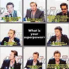 The super powers of the avengers Avengers Humor, Funny Marvel Memes, Avengers Cast, Marvel Jokes, Dc Memes, Marvel Dc Comics, Marvel Heroes, Marvel Avengers, Avengers Quotes