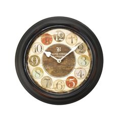 Furnistar Black Iron Retro Vintage-Inspired Circular Wall Clock. This unique distressed retro wall clock encases each stylized number in a different colored circle all surrounding a brown central circle with the words Bond Street London above the white heart and diamond hands. This clock looks lovely on a kitchen living room or bedroom wall and makes a wonderful housewarming wedding or anniversary gift