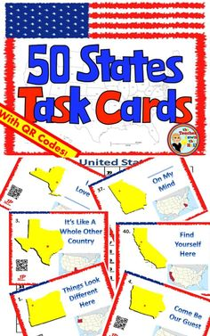 Great review of our 50 United States!  Students can use task cards as independent practice w/ QR Codes or complete the answer sheet as a quiz!