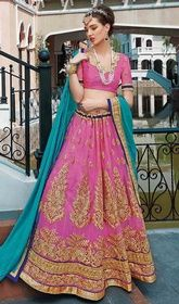 Pink Color Net Embroidered Cholie Skirt. #indianchaniyacholi #weddinglehenga2016 Transform from the girl next door to a stylish diva dressed in this pink color net embroidered cholie skirt. The ethnic lace, patch, resham and stones work in the attire adds a sign of attractiveness statement for your look. Upon request we can make round front/back neck and short 6 inches sleeves regular lehenga blouse also.    USD $ 132 (Around £ 91 & Euro 100)