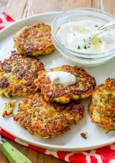 Sally's Baking Addiction Zucchini Fritters with Garlic Herb Yogurt Sauce Easy Corn Fritters, Zucchini Fritters, Diet Recipes, Vegetarian Recipes, Cooking Recipes, Healthy Recipes, Sallys Baking Addiction, Yogurt Sauce, Hungarian Recipes