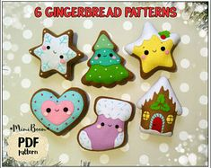 Gingerbread pattern Christmas Gingerbread ornaments pattern felt Christmas ornaments pattern Cookie pattern felt Gingerbread sewing pattern