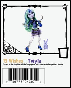 Twyla with her dust bunny Dustin from 13 Wishes Basic Series. She has a diary, a purse, a black brush and a black stand.