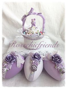 Welcome to Rosechicfriends!  This is an adorable decoration for your spring decor...new design created this year just for you.  I started with a container that I have wrapped in sweet white chenille yarn and then added lavender accents. But I never stop there as I added trims, sweet flowers and a Chenille handle..and one one of my original chenille wrapped eggs and a vintage flocked bunny rabbit...all sweetly embellished as you can see from my picture.  Measures 6x3  Thanks so much for…