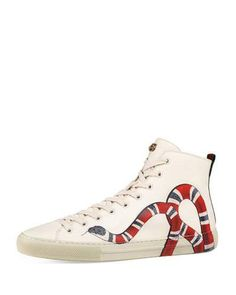 d4fc8f2b4b2 Gucci Major Snake-Print Leather High-Top Sneaker Gucci Snake Sneakers