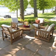 """POLYWOOD 5 Piece Conversation Set is the ideal setting for relaxing with friends.  Used around a POLYWOOD Conversation Table or a firepit, this will be the new """"go-to"""" spot in your outdoor environment."""