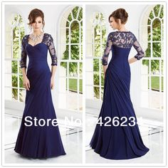 2013 New Arrival Gown Elegant Sexy A-Line Sweetheart Long Sleeve Lace Crystal Royal Blue Chiffon Woman Long Formal Evening Dress