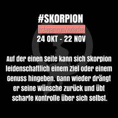 Stimmt das, liebe Skorpione?? Hihi #sternzeichen #horoskop #german #zodiac… Scorpio Zodiac, Horoscope, Zodiac Signs, Zodiac Posts, Tarot, Cancer, Names, Sayings, Identity