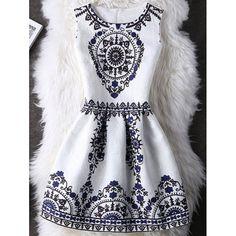 Tribal Pattern Zipper Design A Line Dress For Women - WHITE XL