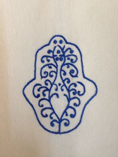 blue hamsa, hand embroidered hand towel, flour sack fabric, 45 TL, 15 euro