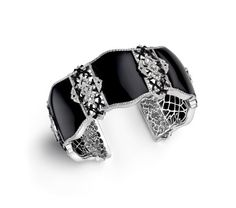 Ivanka Trump bracelet in 18k white gold with black onyx, black enamel, and diamonds