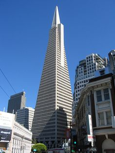 Transamerica Pyramid building in San Francisco, CA;  the tallest skyscraper in SF;  it is 850 feet tall, and when completed in 1972 it was among the five tallest buildings in the world;  designed by William Pereira