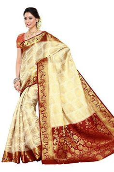 Mimosa Women's Traditional Art Silk Saree Kanchipuram Style, color :Off White(3247-201-HEHT-MRN) Check more at http://www.indian-shopping.in/product/mimosa-womens-traditional-art-silk-saree-kanchipuram-style-color-off-white3247-201-heht-mrn/