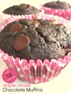 Low-cal Triple Chocolate Chunk Muffins from SixSistersStuff.com! I love starting my morning off with a little dose of chocolate! ;)