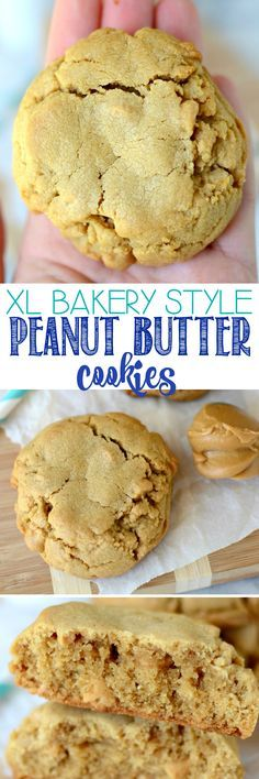 XL Bakery Style PB Cookies - these peanut butter cookies are HUGE and filled with peanut butter chips. We inhale these faster than I can make them! (Peanutbutter No Baking Cookies) Cookie Desserts, Just Desserts, Delicious Desserts, Dessert Recipes, Baking Cookies, Diabetic Desserts, Crisco Cookies, Bakery Recipes, Homemade Cookies