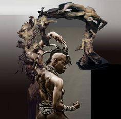 Bronze sculpture titled Spiral Nebulae by Ira Reines X Ira Reines, Eternal All, bronze, 110 H x 36 W x 32 D ~  Lady-WAR collagedparBILLYLEE