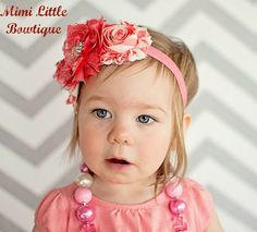Coral  Shabby Chic Satin and Lace Flower by MimiLittleBowtique, $9.95