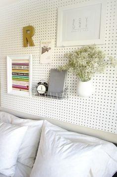 Headboard DIY - pegboard! Not a bad idea for an office.
