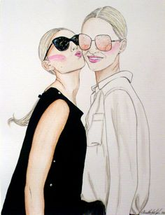 FASHION ILLUSTRATION Original Watercolour Painting Entitled Bestfriends by KimLegler, £45.00 #draw #painting #illustration