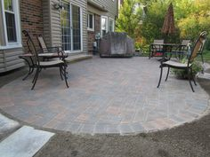 Marvelous Backyard Pavers Designs, Patterns And Pictures: Incridible Black  Iron Patio Armchairs On Gray Backyard Pavers Stones Materials As Decorate  Brick ...