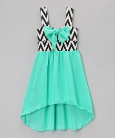 Love this Mint Bow Zigzag Hi-Low Dress - Toddler & Girls by Just Kids on #zulily! #zulilyfinds