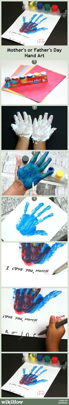 How to Do Mother's/Father's Day Hand Art -- cute gift idea! #FathersDay #ForDad