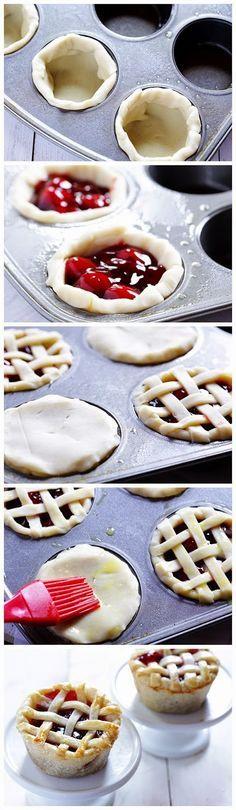 Pequeñas tartas de frambuesas