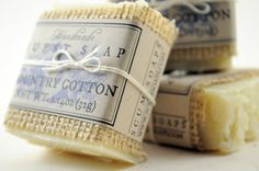 Country Cotton Guest Soap  Set of 3 Cotton shabby by ScumSoaps, $15.00